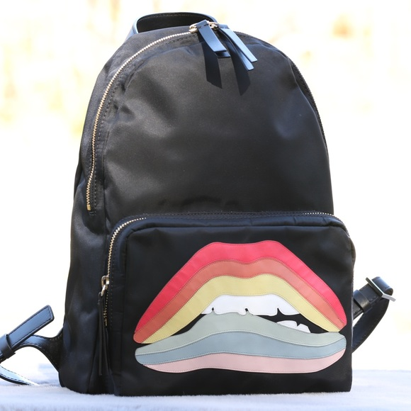 Valentino Handbags - RED Valentino Rainbow Lips Nylon-Leather Backpack